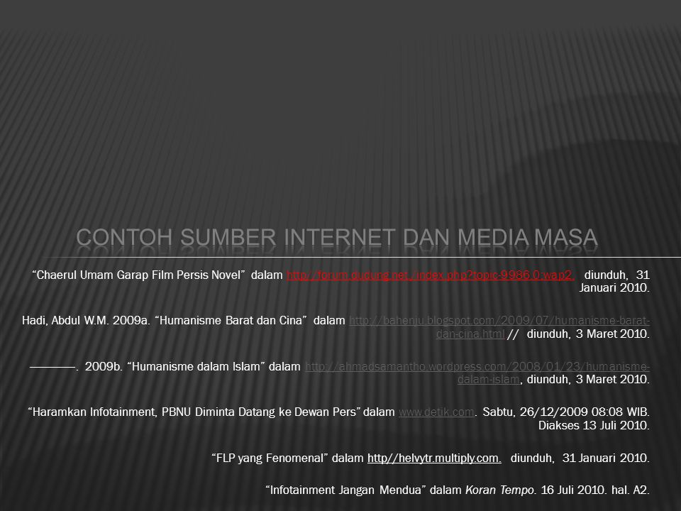 Contoh Sumber Internet dan Media Masa