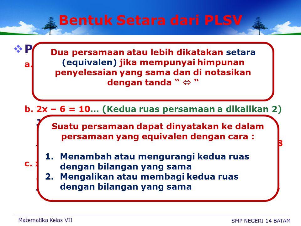 Bentuk Setara dari PLSV