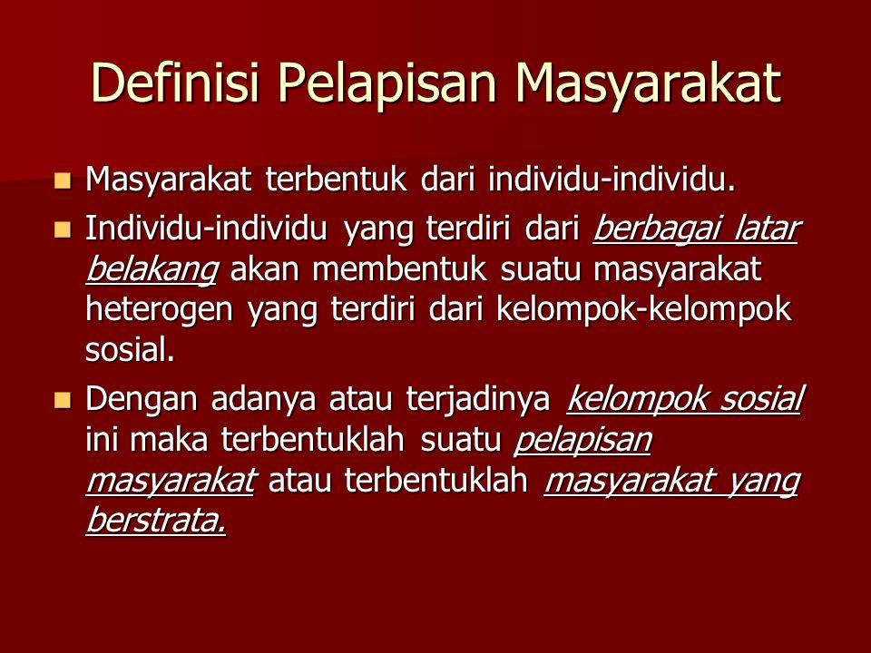 Definisi Pelapisan Masyarakat