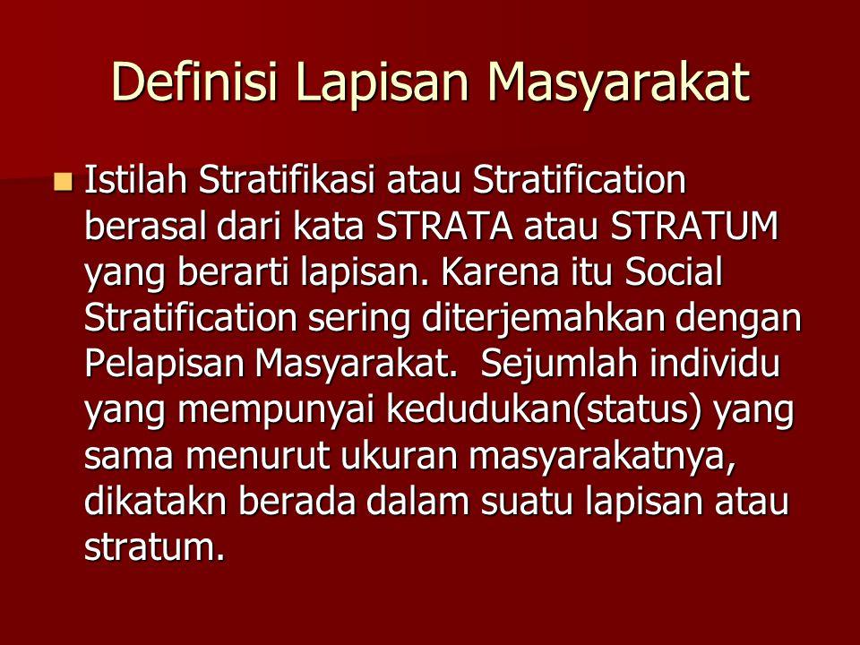Definisi Lapisan Masyarakat