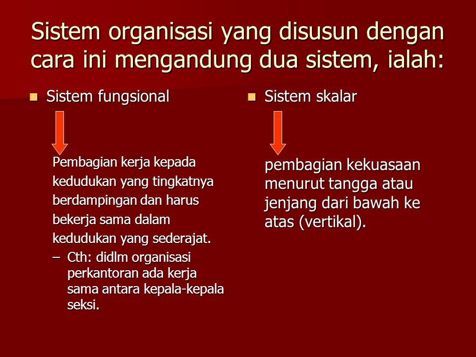 Sistem organisasi yang disusun dengan cara ini mengandung dua sistem, ialah: