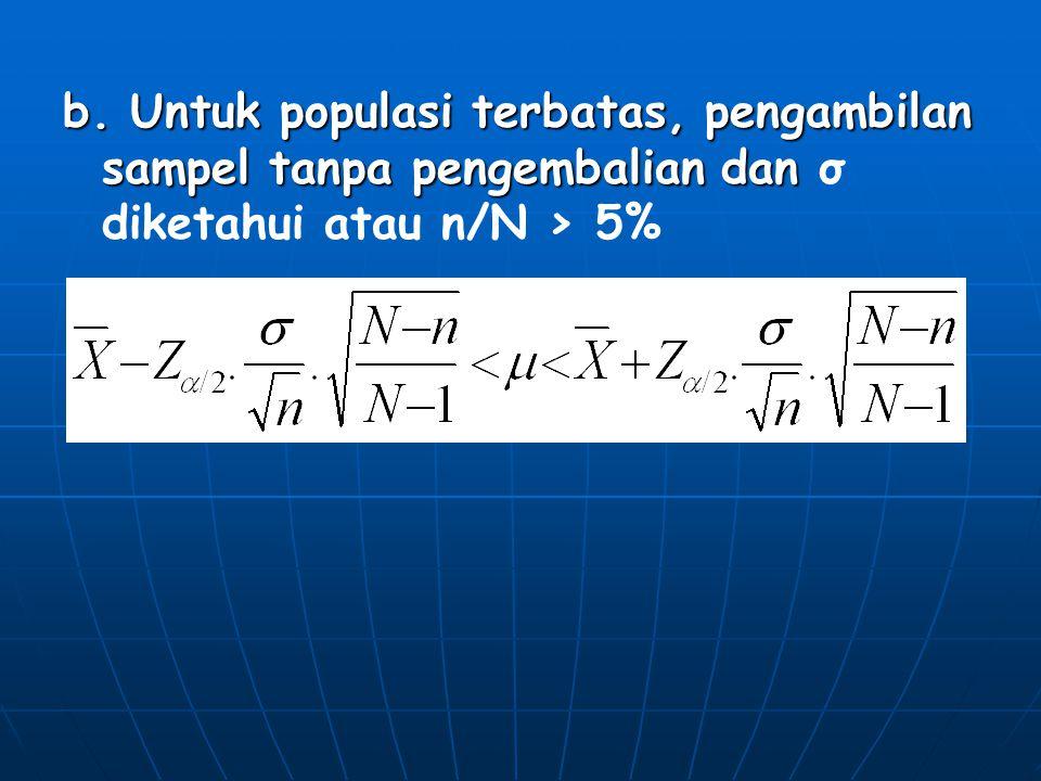 b. Untuk populasi terbatas, pengambilan sampel tanpa pengembalian dan σ diketahui atau n/N > 5%
