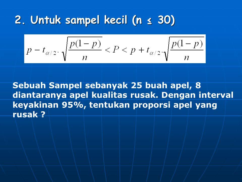 2. Untuk sampel kecil (n ≤ 30)