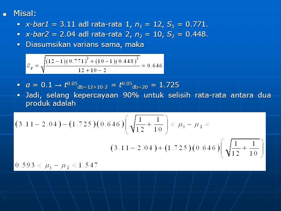 Misal: x-bar1 = 3.11 adl rata-rata 1, n1 = 12, S1 = 0.771.