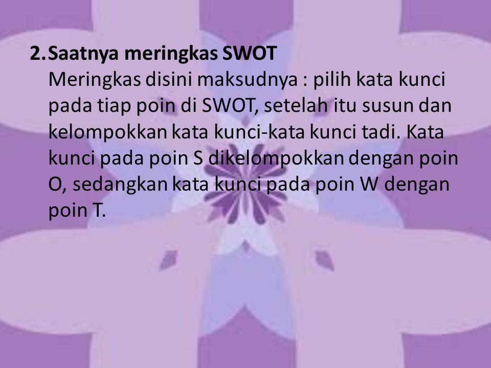 2. Saatnya meringkas SWOT Meringkas disini maksudnya : pilih kata kunci pada tiap poin di SWOT, setelah itu susun dan kelompokkan kata kunci-kata kunci tadi.