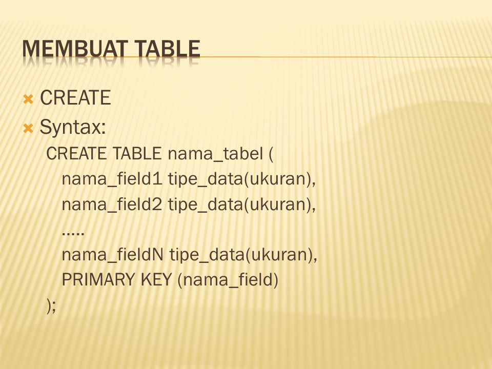 Membuat Table CREATE Syntax: CREATE TABLE nama_tabel (