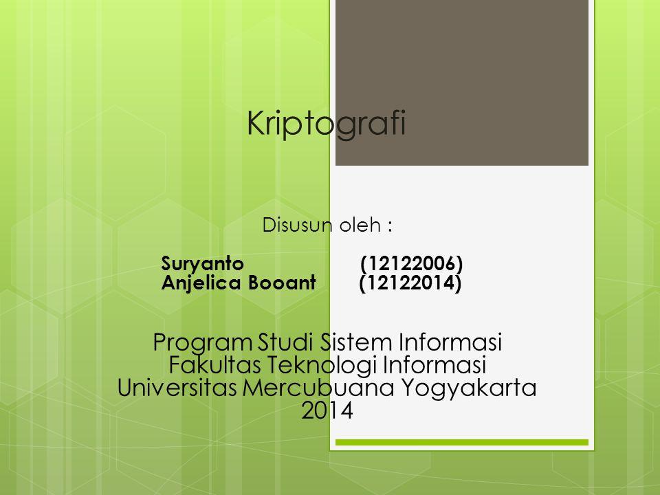 Kriptografi Program Studi Sistem Informasi