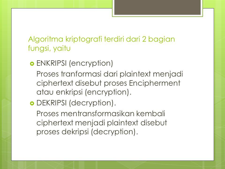 Algoritma kriptografi terdiri dari 2 bagian fungsi, yaitu