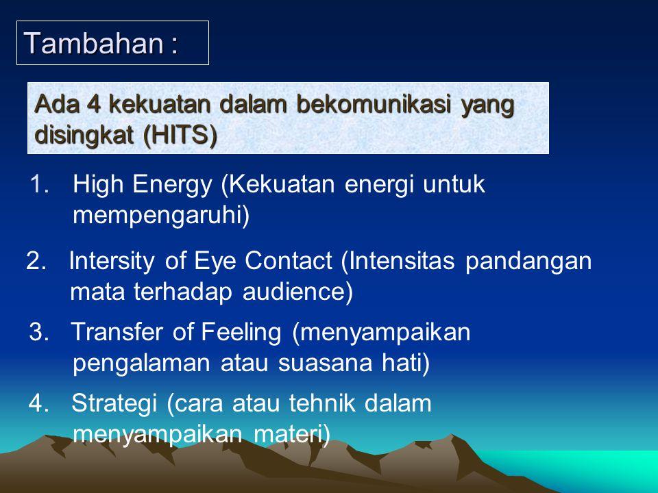 Tambahan : Ada 4 kekuatan dalam bekomunikasi yang disingkat (HITS)
