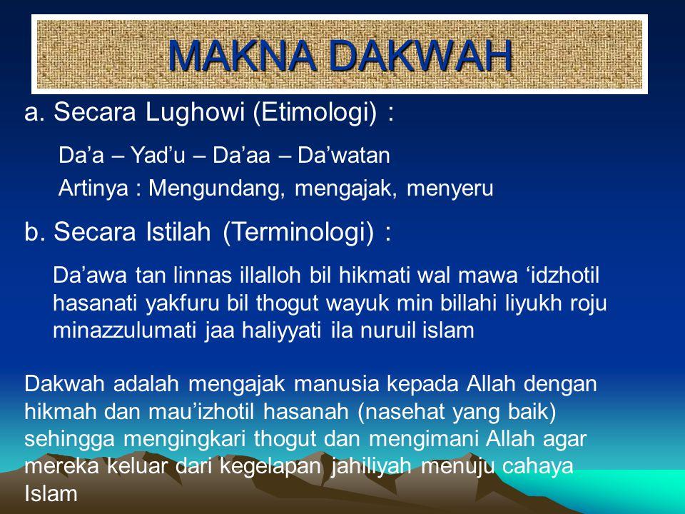 MAKNA DAKWAH a. Secara Lughowi (Etimologi) :