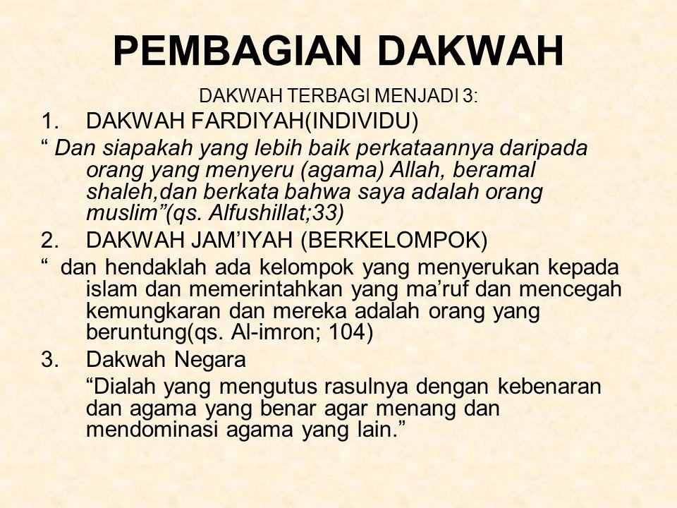 DAKWAH TERBAGI MENJADI 3: