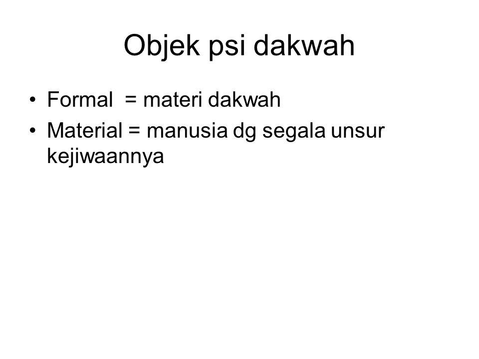 Objek psi dakwah Formal = materi dakwah