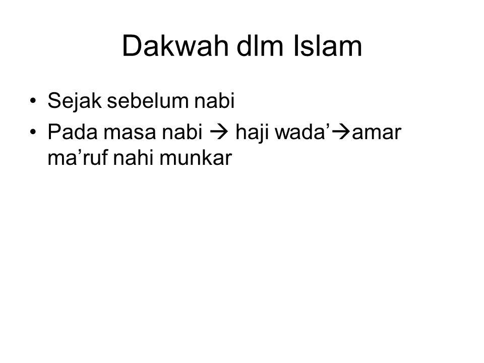 Dakwah dlm Islam Sejak sebelum nabi