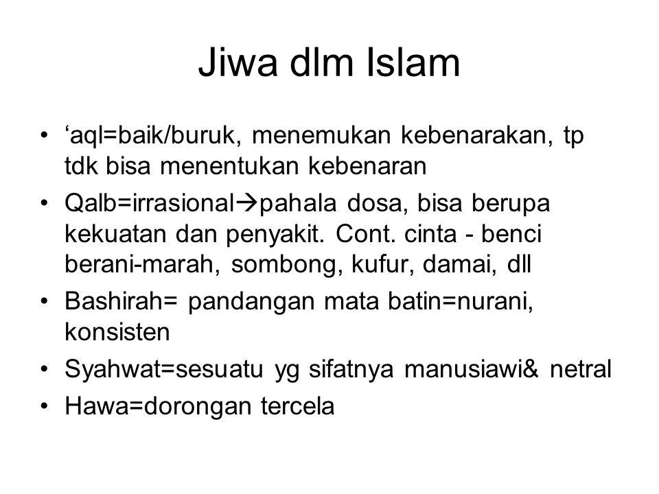Jiwa dlm Islam 'aql=baik/buruk, menemukan kebenarakan, tp tdk bisa menentukan kebenaran.