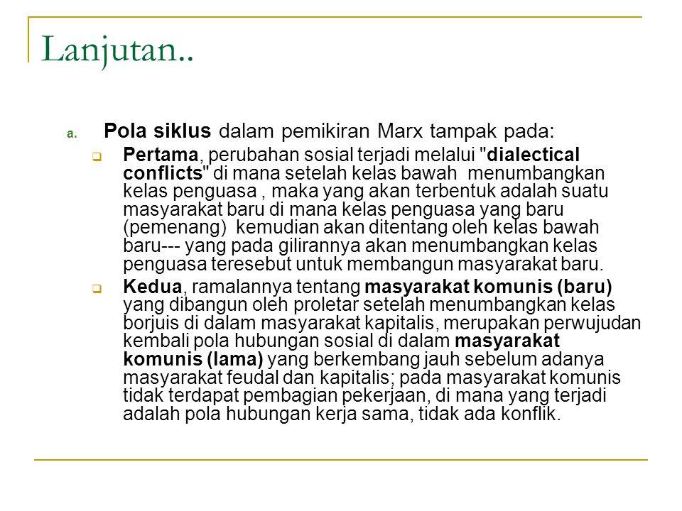 Lanjutan.. Pola siklus dalam pemikiran Marx tampak pada: