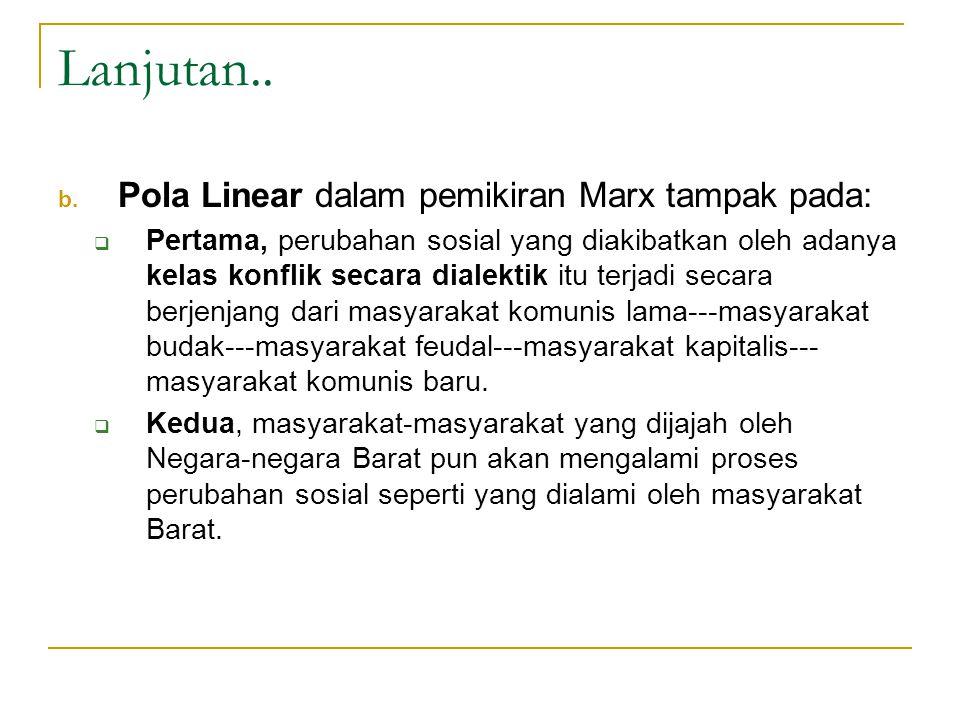 Lanjutan.. Pola Linear dalam pemikiran Marx tampak pada: