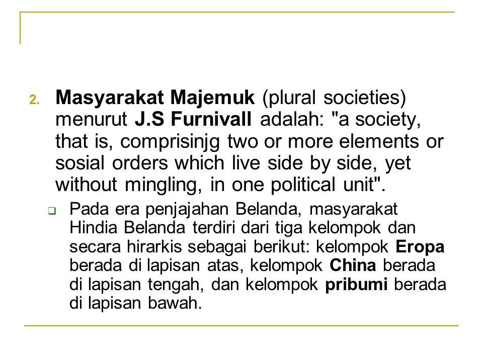 Masyarakat Majemuk (plural societies) menurut J