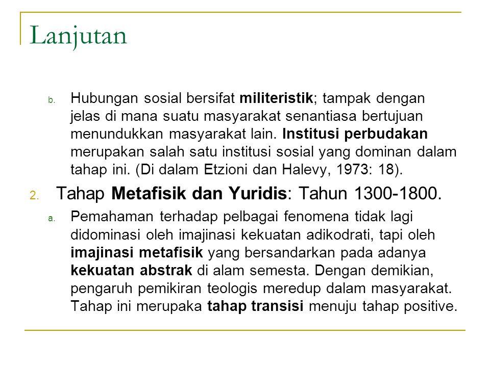 Lanjutan Tahap Metafisik dan Yuridis: Tahun 1300-1800.