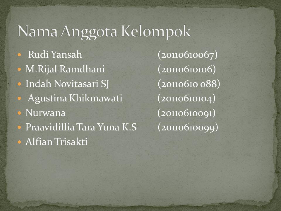 Nama Anggota Kelompok Rudi Yansah (20110610067)