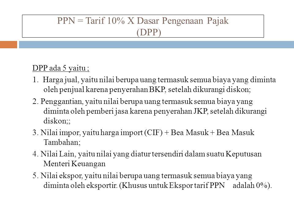 PPN = Tarif 10% X Dasar Pengenaan Pajak