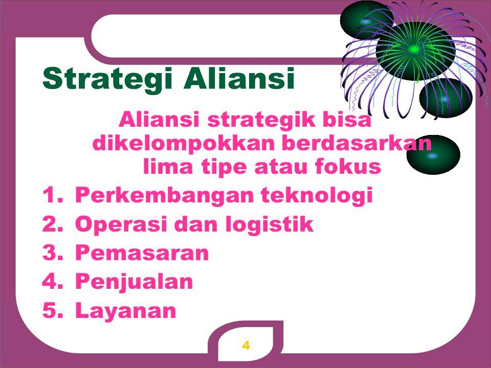 Aliansi strategik bisa dikelompokkan berdasarkan lima tipe atau fokus