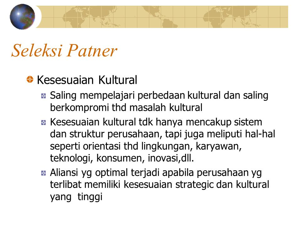 Seleksi Patner Kesesuaian Kultural