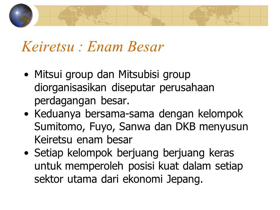Keiretsu : Enam Besar Mitsui group dan Mitsubisi group diorganisasikan diseputar perusahaan perdagangan besar.