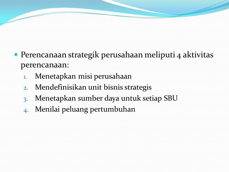 Perencanaan strategik perusahaan meliputi 4 aktivitas perencanaan: