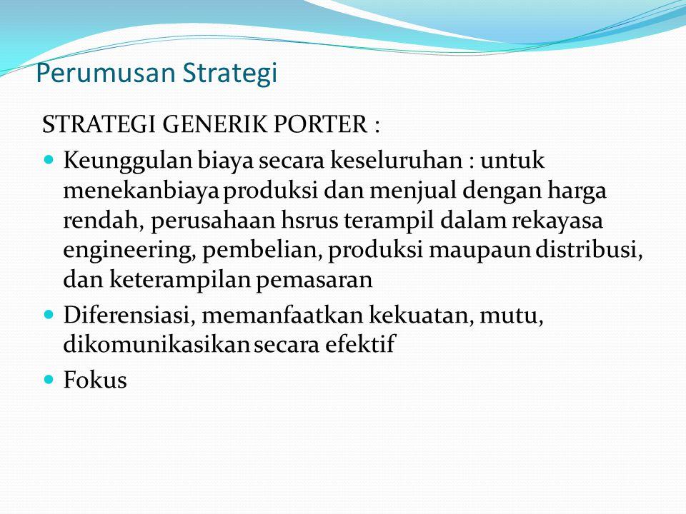 Perumusan Strategi STRATEGI GENERIK PORTER :