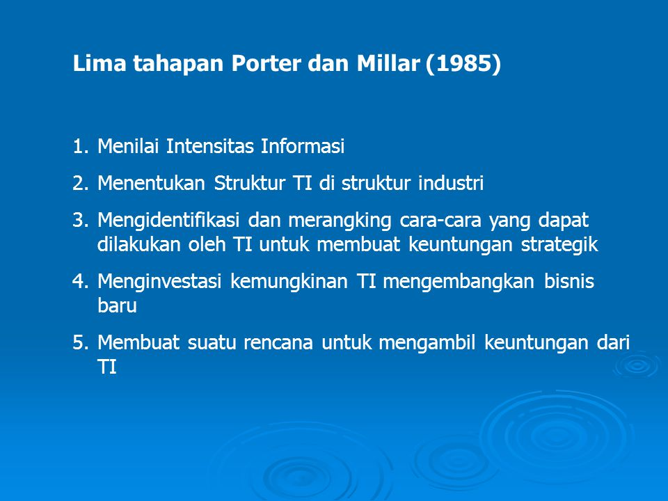 Lima tahapan Porter dan Millar (1985)