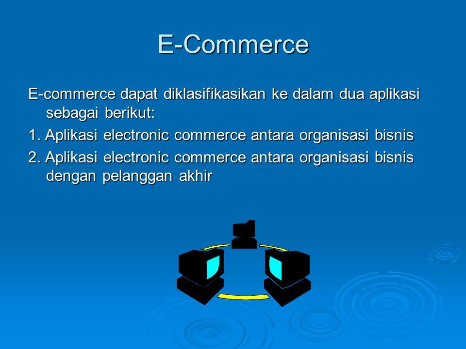 E-Commerce E-commerce dapat diklasifikasikan ke dalam dua aplikasi sebagai berikut: 1. Aplikasi electronic commerce antara organisasi bisnis.