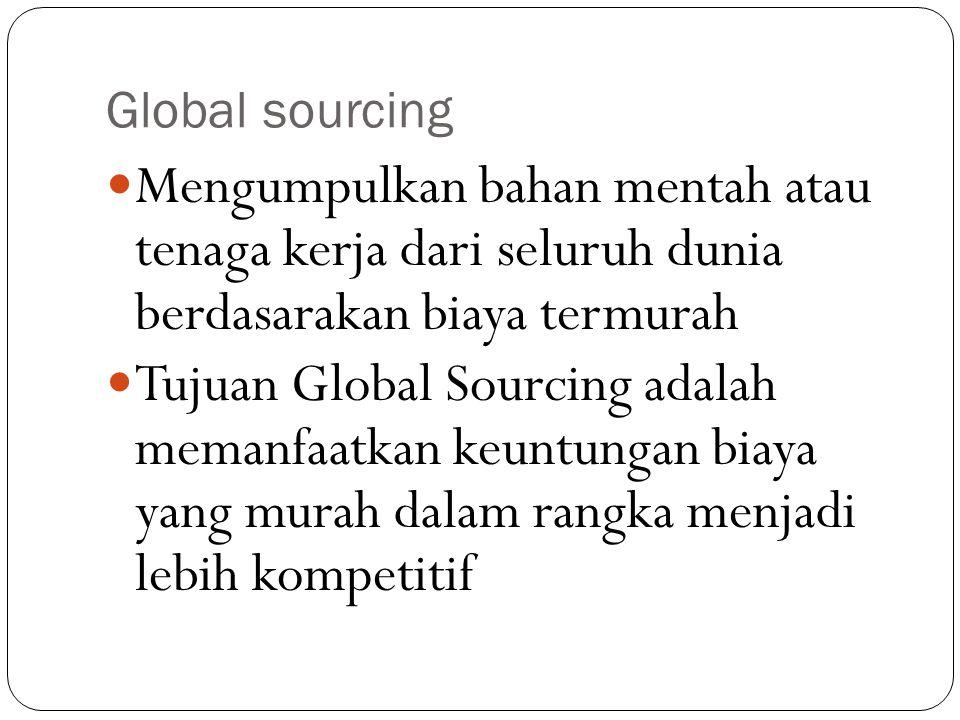 Global sourcing Mengumpulkan bahan mentah atau tenaga kerja dari seluruh dunia berdasarakan biaya termurah.