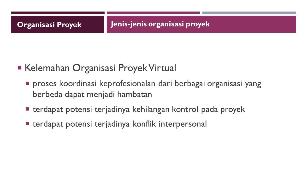 Kelemahan Organisasi Proyek Virtual