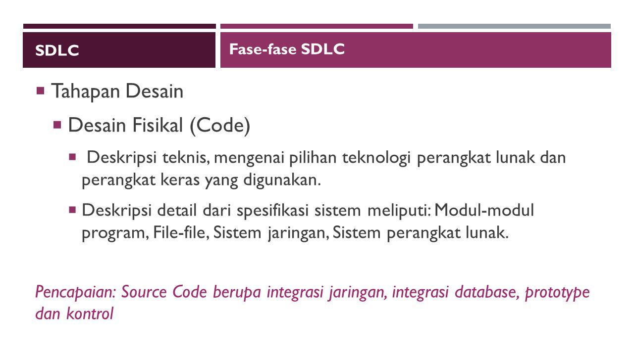 Tahapan Desain Desain Fisikal (Code)