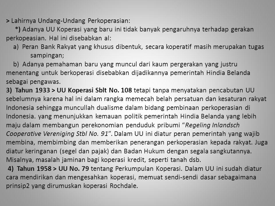 > Lahirnya Undang-Undang Perkoperasian: