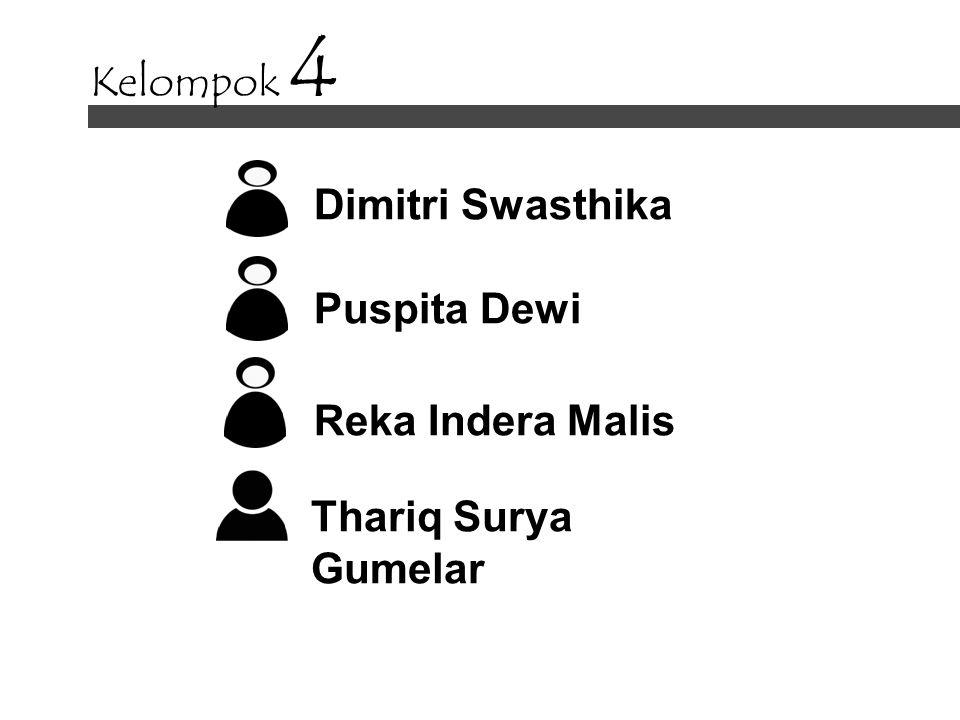 Kelompok 4 Dimitri Swasthika Puspita Dewi Reka Indera Malis Thariq Surya Gumelar