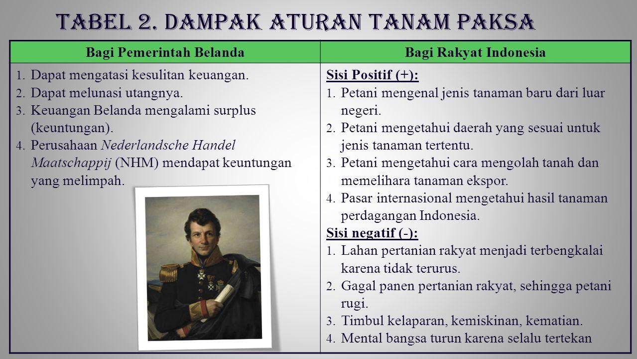 Tabel 2. Dampak Aturan Tanam Paksa