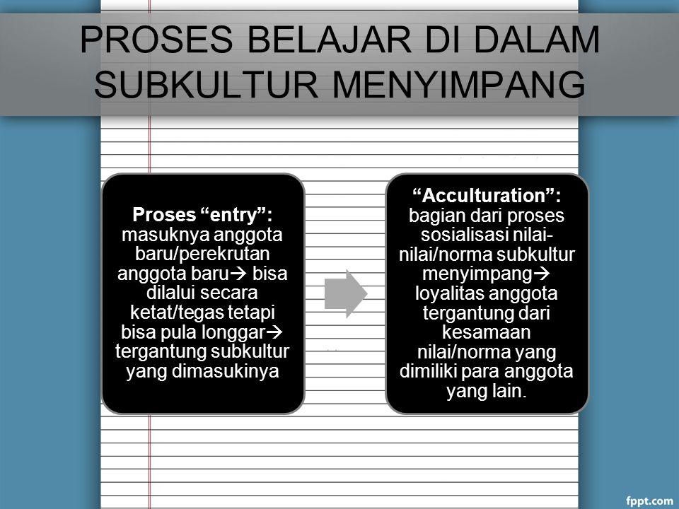 PROSES BELAJAR DI DALAM SUBKULTUR MENYIMPANG