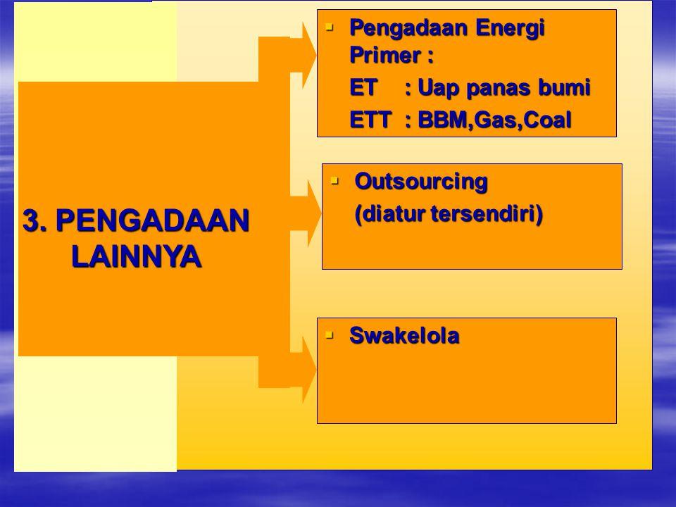3. PENGADAAN LAINNYA Pengadaan Energi Primer : ET : Uap panas bumi