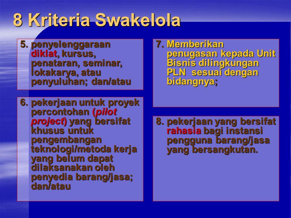 8 Kriteria Swakelola 5. penyelenggaraan diklat, kursus, penataran, seminar, lokakarya, atau penyuluhan; dan/atau.