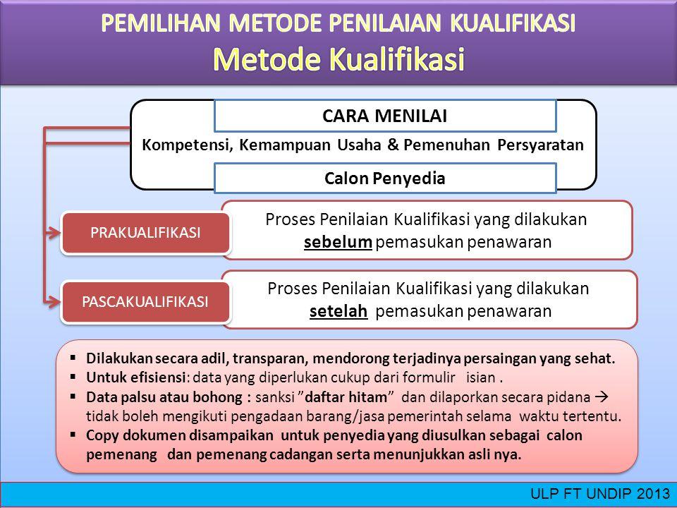 PEMILIHAN METODE PENILAIAN KUALIFIKASI Metode Kualifikasi