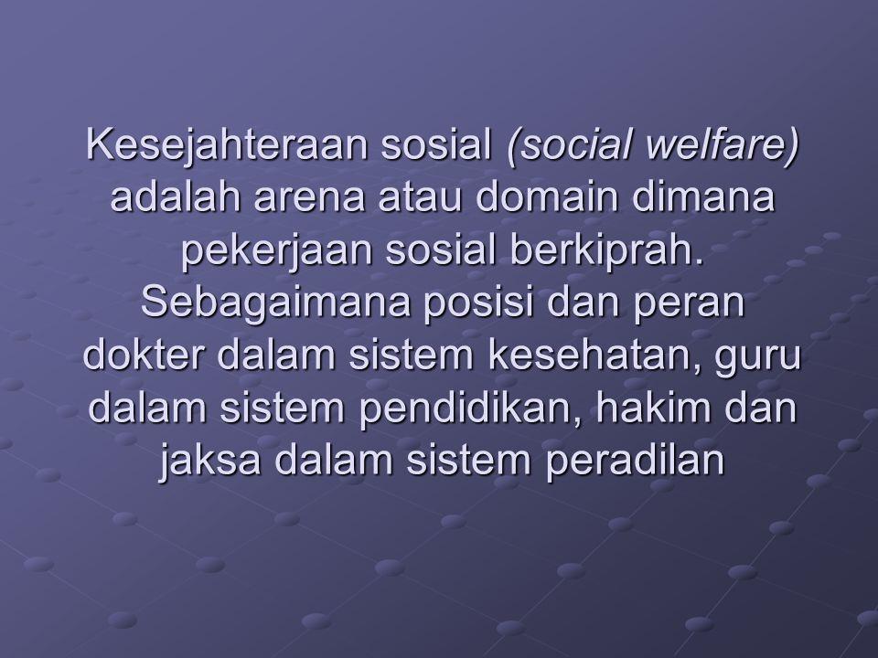 Kesejahteraan sosial (social welfare) adalah arena atau domain dimana pekerjaan sosial berkiprah.