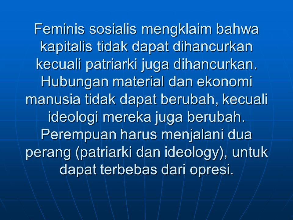 Feminis sosialis mengklaim bahwa kapitalis tidak dapat dihancurkan kecuali patriarki juga dihancurkan.