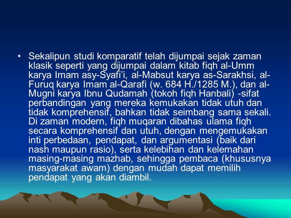 Sekalipun studi komparatif telah dijumpai sejak zaman klasik seperti yang dijumpai dalam kitab fiqh al-Umm karya Imam asy-Syafi'i, al-Mabsut karya as-Sarakhsi, al-Furuq karya Imam al-Qarafi (w.