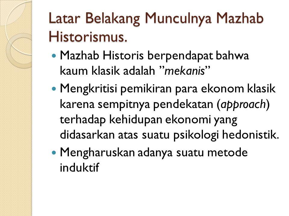 Latar Belakang Munculnya Mazhab Historismus.