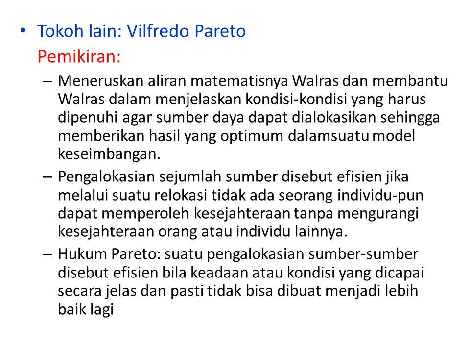 Tokoh lain: Vilfredo Pareto Pemikiran:
