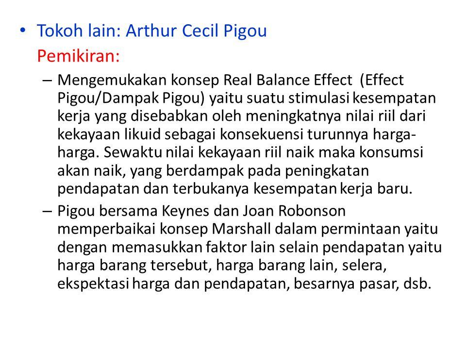 Tokoh lain: Arthur Cecil Pigou Pemikiran:
