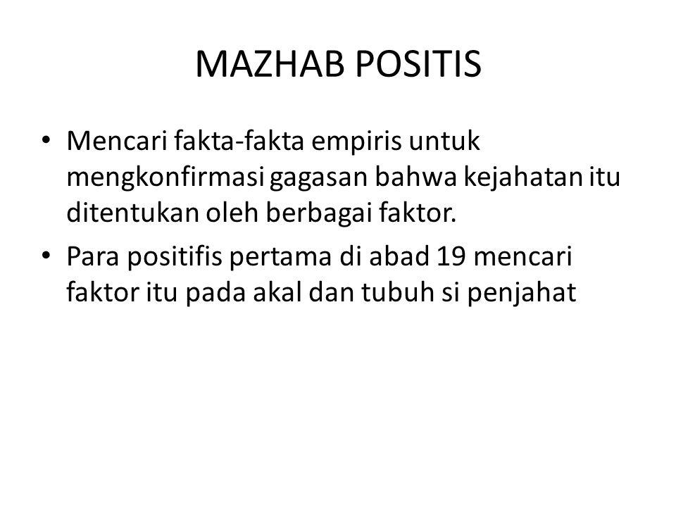 MAZHAB POSITIS Mencari fakta-fakta empiris untuk mengkonfirmasi gagasan bahwa kejahatan itu ditentukan oleh berbagai faktor.