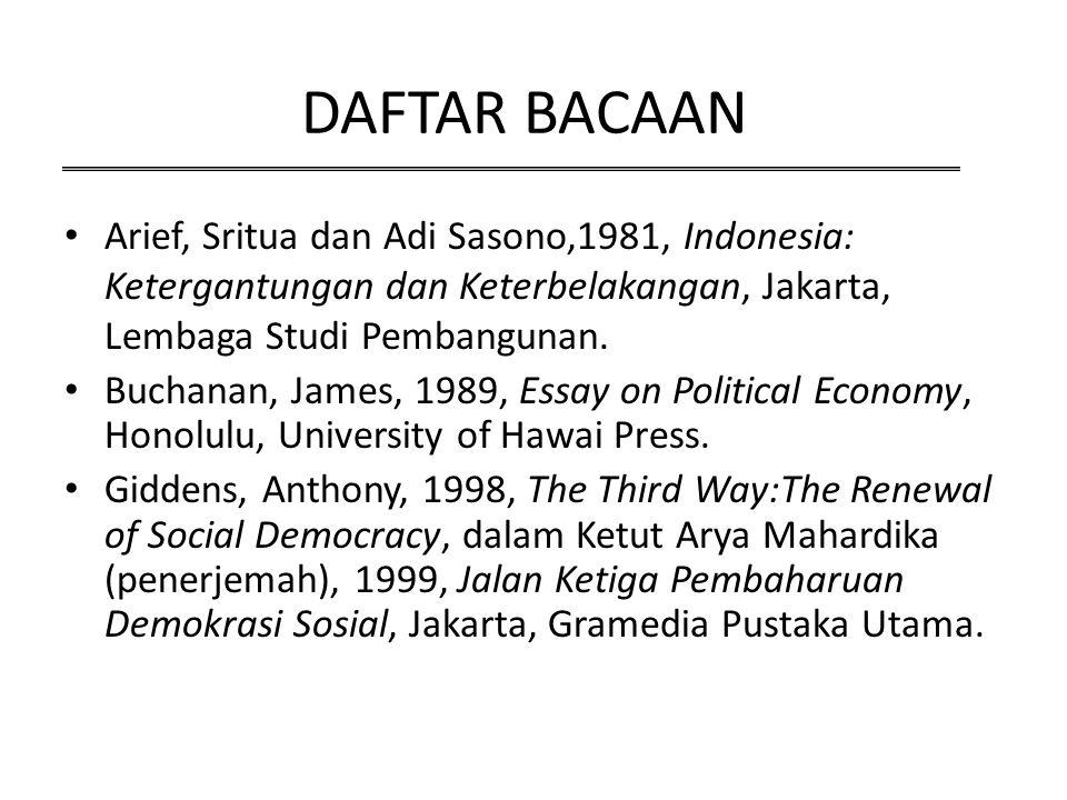 DAFTAR BACAAN Arief, Sritua dan Adi Sasono,1981, Indonesia: Ketergantungan dan Keterbelakangan, Jakarta, Lembaga Studi Pembangunan.