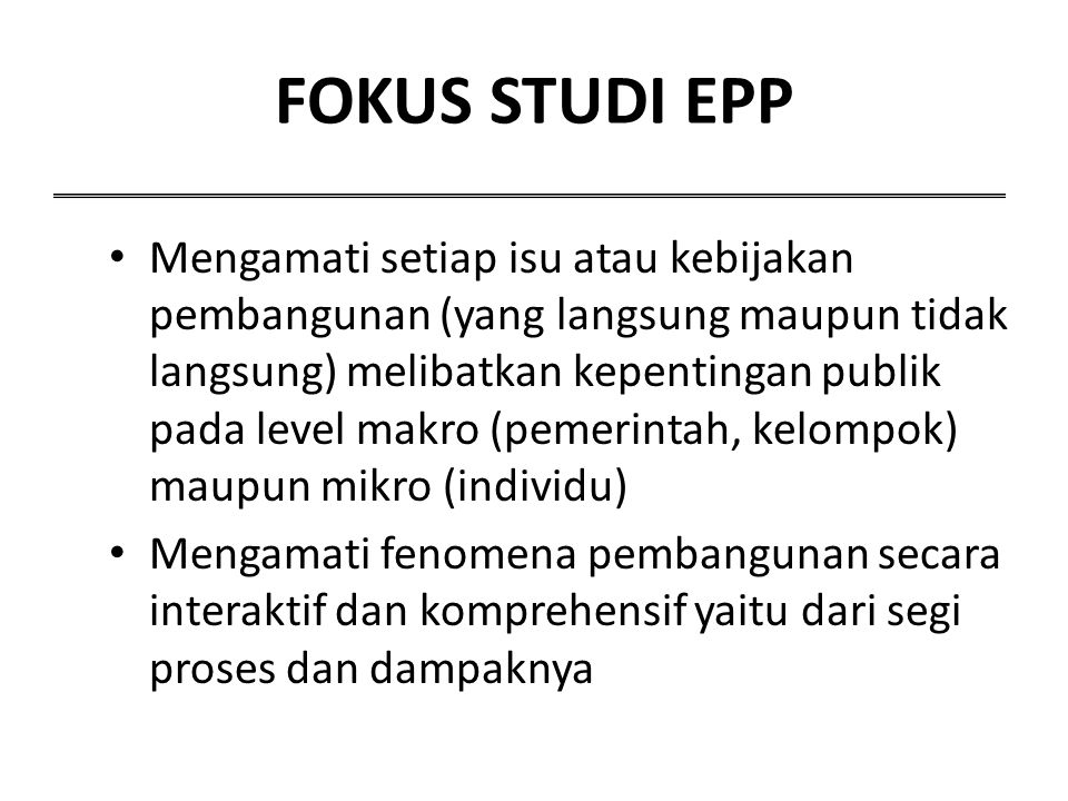FOKUS STUDI EPP